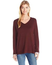 NYDJ - Mixed Media V-neck Sweater With Overlapped Back - Lyst