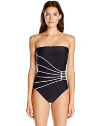 Gottex - Contrast Piping Solid Bandeau One Piece Swimsuit - Lyst