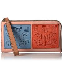 Orla Kiely - Punched Pocket Leather Flat Wallet Wallet - Lyst