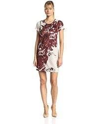Andrew Marc - Marc New York By Short-sleeve Floral Printed Shift Dress - Lyst