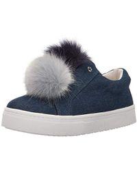 f62871f5959f Lyst - Sam Edelman Leya Pom-Pom Suede Sneakers in Gray