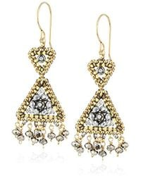 Miguel Ases - Reversed Double Triangle Pyrite Fringe Drop Earrings - Lyst