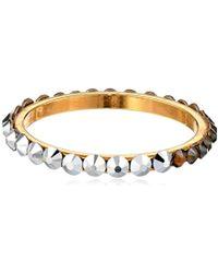 Chamak by Priya Kakkar - Dainty Round Dual Swarovski Element Crystal Gold Ring - Lyst
