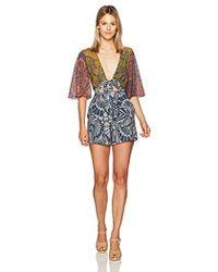 BCBGMAXAZRIA - Ivy Floral Print Blocked Tie Front Woven Sportswear Romper - Lyst