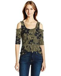 Guess - Half Sleeve Cold Shoulder Frida Top - Lyst