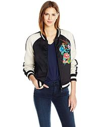 True Religion - Satin Floral Embroidered Bomber Jacket - Lyst