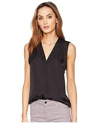 55c84209f732 Vince Camuto Sleeveless V-neck Top in Black - Lyst