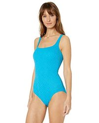 79ad6c8312d Gottex Mandarin Square-Neck One-Piece Swimsuit in Blue - Lyst