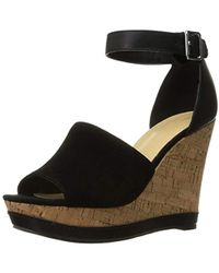 f546b048d1 Lyst - Marc Fisher Hadeya Wedge Sandal in Black