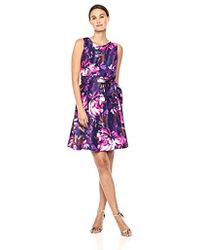 Nine West - Shantung Dress With Pleat Flare Skirt And Sash - Lyst