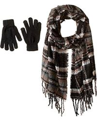 Steve Madden - Plaid Boucle Blanket Wrap With Etouch Glove Set (black) Scarves - Lyst