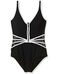 Gottex - Zip Up V-neck One Piece Swimsuit - Lyst