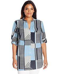 Calvin Klein - Plus Size Print Roll Sleeve - Lyst