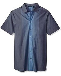 Perry Ellis - Big And Tall Short Sleeve Vertical Ombre Shirt - Lyst