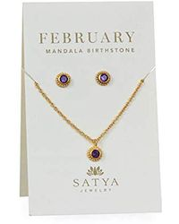 Satya Jewelry - Amethyst Gold February Necklace And Earring Jewelry Set, One Size - Lyst