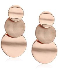 Kenneth Cole - Rose Gold Geometric Tiered Circle Linear Earrings, One Size, Rose Gold - Lyst