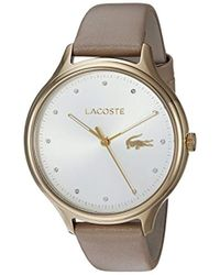 Lacoste - 'constance' Quartz Gold-tone And Leather Casual Watch, Color:brown (model: 2001007) - Lyst