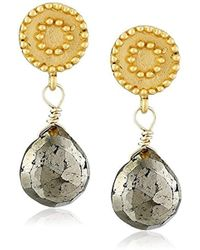 Satya Jewelry - Celestial Sun And Moon Stud Pyrite Drop Earrings - Lyst