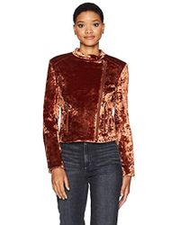 James Jeans - Velvet Harley Jacket In Amber Crushed - Lyst