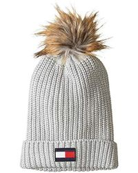ae81ff989f5 Lyst - Tommy Hilfiger Logo Stripe Leopard Beanie Hat