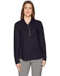 Lark & Ro - Loose Fit Half-zip Popover Shirt - Lyst