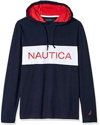 52daa60165 Nautica - Long Sleeve Blocked Beach 100% Cotton Pullover Hoodie - Lyst