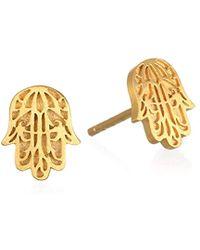 Satya Jewelry - Gold Plate Hamsa Stud Earrings - Lyst