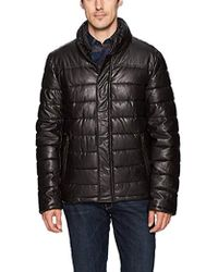 Dockers - Lamb Touch Faux Leather Puffer Jacket - Lyst