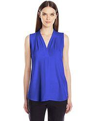 Calvin Klein - Sleeveless Inverted Pleat Blouse - Lyst