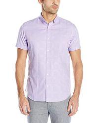 Calvin Klein - Short Sleeve Woven Button Down Shirt - Lyst