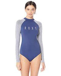 Roxy Printed Softly Love Long Sleeve Onesie Swimsuit Rashguard - Blue