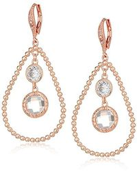 Anne Klein - Rose Gold Tone Orbital Leverback Drop Earrings - Lyst