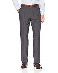 Franklin Tailored - Expandable Waist Classic-fit Pleated Dress Pants, -dark Grey, 42w X 29l - Lyst
