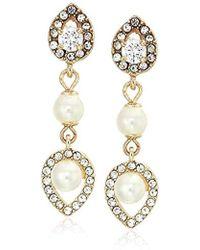 Anne Klein - Gold Tone Pearl Drop Earrings, Size: 0 - Lyst