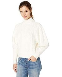 BCBGMAXAZRIA - Balloon Sleeve Cable Knit Turtleneck Sweater - Lyst
