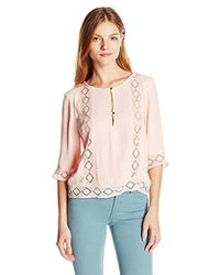 Twelfth Street Cynthia Vincent - Lace Inset Blouse - Lyst