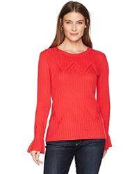Ivanka Trump - Pull Over Light Weight Pointell Flare Cuff Sweater - Lyst