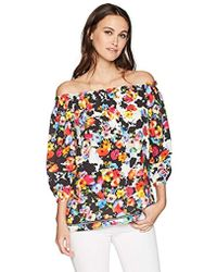 5781f9838f7fff Lyst - Express Off The Shoulder Puff Sleeve Surplice Blouse in White