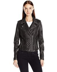Levi's - Leather Assymetrical Diamond Quilted Motorcycle - Lyst