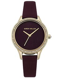Karen Millen - Quartz Gold-tone And Leather Casual Watch, Color:red (model: Km165vg) - Lyst