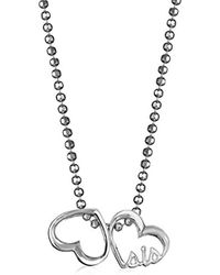 Alex Woo - Little Words Sterling Silver Sis Hearts Pendant Necklace - Lyst