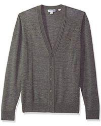 Lacoste - Classic Lambswool Cardigan Sweater Tone Croc - Lyst