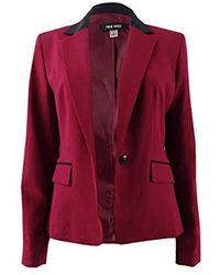 Nine West - 1 Button Notch Collar Bi Stretch Jacket - Lyst