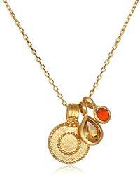 Satya Jewelry - Citrine & Carnelian Gold Sun Pendant Necklace 18-inch, Orange, One Size - Lyst