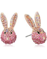 Betsey Johnson - S Pink And Rose Gold Bunny Stud Earrings - Lyst