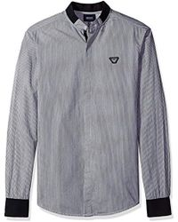 Armani Jeans - Plus Size Yarn Dyed Cotton Popeline With Jacquard Stripe Shirt - Lyst