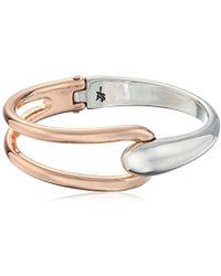 Kenneth Cole - Two-tone Hinged Bangle Bracelet - Lyst