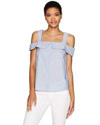 Kensie - Oxford Shirting Cold Shoulder Top - Lyst