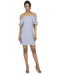 d5a4e34ce812 Lyst - Armani Exchange Tie-sleeve Gingham Seersucker Dress in Green