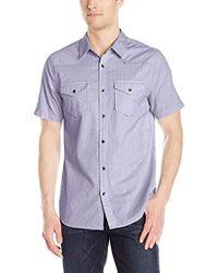 Guess - Short Melange Check Shirt - Lyst